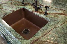 Rainforest Green Granite Countertops | RAINFOREST granite WITH COPPER sink