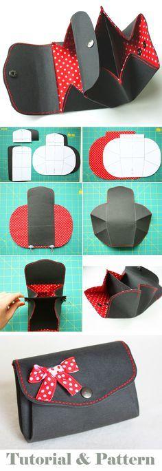 Coin purse wallet from Kraft-Tex paper. DIY tutorial in pictures. Pattern http://www.handmadiya.com/2015/10/purse-kraft-tex-fabric-tutorial.html