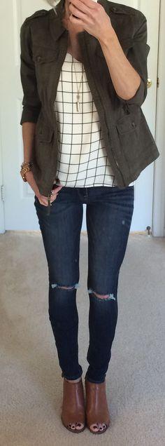 Express Military Jacket + Grid Print Cami + Distressed Jeans + Cognac peep toe booties [via onthedailyexpress.com]