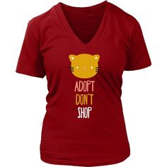 If you love pets & animals then Adopt don't shop cat tee or hoodie is for you! Custom Men Women Animal Rescue inspired t-shirts & apparel by TeeLime.