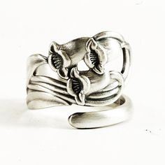 Rare Bluebell Silver Spoon Ring in Art Nouveau Floral by Spoonier