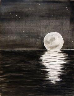 "Saatchi Online Artist: Rachel Cross; Watercolor 2014 Painting ""Moon Set"" full moon, ocean, water, black, midnight, stars, sail"