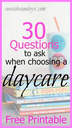 daycare interview questions | free printable | choosing childcare | daycare checklist | choosing a daycare for your toddler