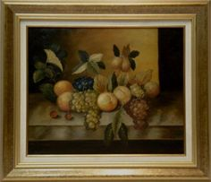Escuela Holandesa : Still life with fruits. Medium: Oil on canvas Measurements (cm): 80x70 Canvas measurements (cm): 60x50 Interior frame: Yes. Classic still life of the Dutch school, perfectly framed with a decorative frame in gold leaf.A work of good artistic quality at an excellent price.  $284.20