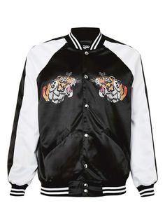 Jaded Black and White Tiger Print Souvenir Bomber Jacket