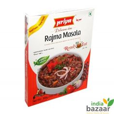 Priya Rajma Masala 300g Ready to eat food just microwave on high for 1 to 2 minutes and serve Serving per package:3 Serve with Naan, Roti or Kulcha Ingredients: Kidney beans, Water, Tomatoes, Onion, Refined rice bran oil, Coriander, Garlic, Red chillies, Salt, Cumin, Coriander leaves, Ginger, Cinnamon, Turmeric, Black cumin seeds, Cardamom, Fennel, Black pepper and Cloves. Product of India