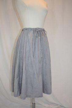 1970's Gray Skirt Grey Suede Cloth 24 Gored Tie Belt Vintage Retro 90s Office Secretary TEacher Day Size Medium Button Front Hipster