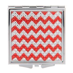 Square Red Crystal Chevron Double Mirror Compact