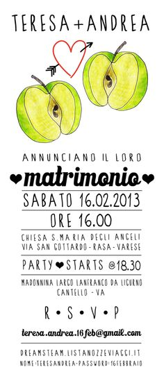 Marriage invitation by Sara Gorini #illustration #graphic #apple #marriage  #wedding #invitation