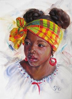 Nisi with Head Tie ~ Jonathan Guy-Gladding African American Art, African Art, African Women, Natural Hair Art, Caribbean Art, Black Art Pictures, Black Artwork, Afro Art, Black Women Art