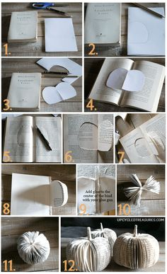 This is such a cute idea for thrift store or tossed out books. Upcycle them into paper book pumpkins that can also be used as place settings during the holidays! upcycledtreasures.com