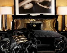So luxourious, black and gold bedroom. ♥ Discover the hottest designs and inspirations on Buffets and Cabinets | Visit us at http://www.buffetsandcabinets.com/ | #buffetsandcabinets #designnews #designinspiration #celebratedesign #interiordesign #designlovers #designbook #furnituredesign #luxuxryfurniture #interiordesigninspiration