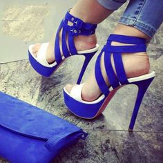 Just amazing! White and blue shoes. Heels and platform make it even more sexy. New arrivals.