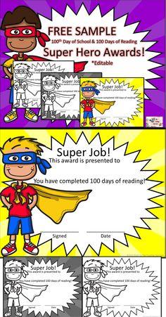 FREE 100 DAY Super Hero Awards! #100dayofschool #100daysofreading