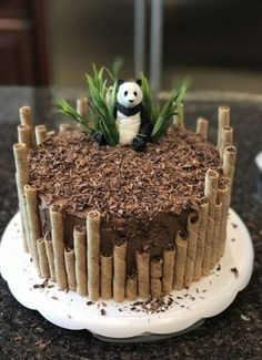 Panda birthday cake by Erin Farley – Torten und Cupcakes – Kuchen Rezepte und Desserts Panda Birthday Cake, Birthday Kids, Bithday Cake, Cupcake Birthday Cake, Diy Jungle Birthday Cake, Birthday Cake Designs, Tractor Birthday Cakes, 20th Birthday, Birthday Parties
