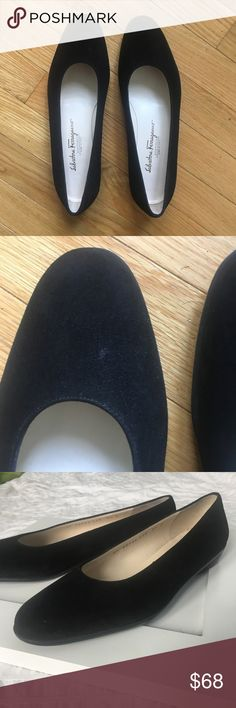 Salvatore Ferragamo Boutique Suede Flats I love these shoes, but unfortunately they don't fit me!  Black flats. Size 8.5B Made in Italy  Excellent condition - looks almost new. Salvatore Ferragamo Shoes Flats & Loafers
