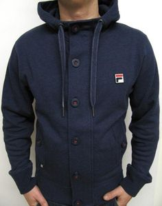 Fila Vintage - Mysterion Hooded Track Top in Navy,button up hoody jacket