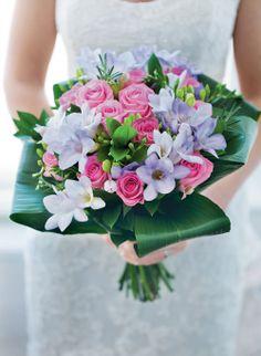 Pink Lilac Rose Freesia Wedding Flowers