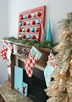 Aqua and Red Christmas Mantel @ A Diamond in the Stuff
