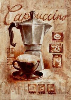 Printable image for decoupage and transfer purposes - I Love Coffee, Coffee Break, My Coffee, Photo Vintage, Vintage Cafe, Pause Café, Still Life Oil Painting, Coffee Poster, Italian Coffee