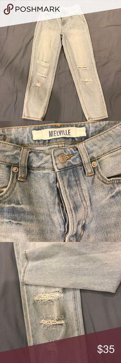 Brandy Melville distressed boyfriend jeans Worn once light wash Brandy Melville distressed boyfriend jeans Brandy Melville Jeans Boyfriend