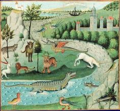 """paleologus: """" Natural History Secrets Center-west of France, around BNF, Manuscripts, French 22971 fol. Medieval Life, Medieval Art, Medieval Tapestry, Medieval Manuscript, Illuminated Manuscript, Renaissance Kunst, Medieval Paintings, Book Of Hours, Mythical Creatures"""