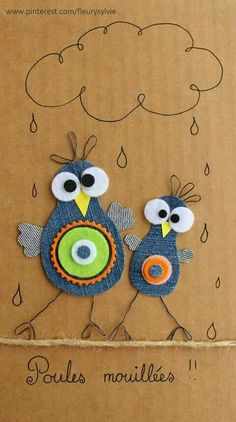 10 Ideas for Recycling that are Actually Genius Jean Crafts, Denim Crafts, Diy And Crafts, Arts And Crafts, Bird Crafts, Artisanats Denim, Diy For Kids, Crafts For Kids, Fabric Crafts