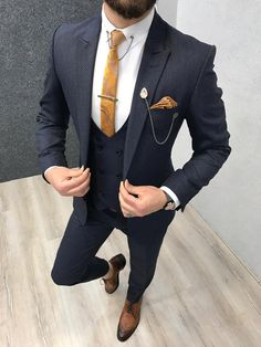 Product : Ferrar Navy Grid Slim Fit Suit Color code : NAVY Size : EU [ ]Suit material: Woolen, Polyester Machine Washable : No Fitting : Regular Slim Fit Remarks: Dry Cleaning Only Shipping Metod : DHL Mens Suit Fit, Navy Slim Fit Suit, Terno Slim Fit, Blue Suit Men, Mens Suits, Suit Vest, Mens Fashion Wear, Suit Fashion, Reception Suits