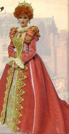 No Link, but this doll reminds me of Lucille Ball. Barbie Dress, Barbie Clothes, Beautiful Barbie Dolls, Victorian Dolls, Barbie Patterns, Doll Costume, Barbie Collection, Barbie Friends, Historical Costume