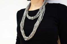 Unique scarves for unique women! Non-allergenic necklace, crochet with natural fibres, easy and quick project that will use leftover silk/silk look/cotton yarn. Make this elegant necklace for yourself or as a gift for someone special! Level: beginner. Written form pattern with step by