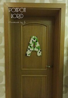 Pom pom letter, Pompom decor, Door decoration, Kids room, Child decoration, Pom pom decoration, Room decor, Huge letter, Hanging decoration