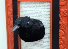 Creepy crow faux taxidermy - this is kind of awesome, and would work with any animal figure that can be sawed in half