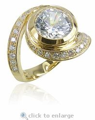 Pittston 3 Carat Round Bezel Set Cubic Zirconia Pave Swirl Solitaire Engagement Ring in 14k yellow gold by Ziamond. #ziamond #cubiczirconia #bezel #engagement #ring #swirl #pave Celtic Wedding Rings, 3 Carat, Bridal Sets, Solitaire Engagement, 18k Gold, Gold Rings, Stones, Rose Gold, Band