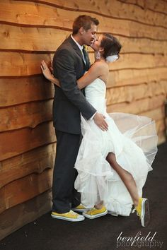 Thinking about wearing Converse Trainers on your wedding day? Here are some great wedding day photos showing how & why Converse trainers are a great choice! Perfect Wedding, Our Wedding, Dream Wedding, When I Get Married, Getting Married, Chuck Taylors Wedding, Wedding Converse, Wedding Sneakers, Offbeat Bride