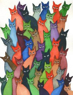 How Many Stray Cats? | Lori Alexander | http://www.straycatartbylorialexander.com/whimsical-cats
