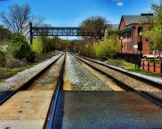 The rr tracks next to the Square in Marietta