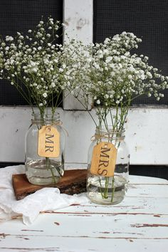 mr and mrs wooden tags . rustic country barn wedding table centerpieces on Etsy, $9.45 AUD