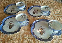 Lot Antique Noritake China Snack Plate Set Teacup Blue Lusterware Green Mark | eBay