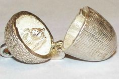 Rare Acorn Opening To A Squirrel UK Collector's Sterling Book Charm