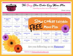 Want to keep your house cool in the hot summer months? Here's a FREE printable and editable Slow Cooker Menu Plan for June.