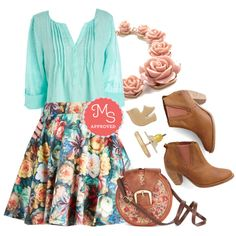 """""""Auroral Floral Skirt"""" by modcloth on Polyvore"""