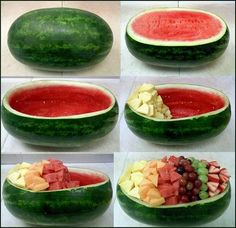 14 Fruit Hacks That Will Simplify Your Life Watermelon Boat, Watermelon Fruit Bowls, Fruit Salad, Christmas Salad Recipes, Cooking Recipes, Healthy Recipes, Eat Healthy, Healthy Weight, Snacks Für Party