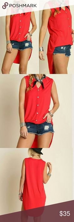 NEW HO-LO TOP NEW  HI LO BUTTON DOWN TUNIC. CAN BE WORN TUCKED IN OR OUT. GOES GREAT WITH A PAIR OF JEANS AVAILABLE S,M,L 65% COTTON/35% POLYESTER. PRICE FIRM 4 Bidden Boutique Tops Tunics