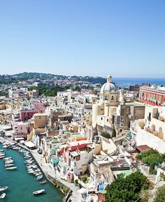 Panoramic view of wonderful Procida Isle, in Naples Gulf, Italy