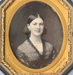 """Octagonal sixth plate daguerreotype of a beautiful woman, by C. H. Williamson, Brooklyn. Brass mat impressed """"C.H. Williamson / Brooklyn NY."""" Housed in a half thermoplastic case and inscribed in case """"July 8th 1860 / Lydia A. Benham [...followed by three other names all ending in """"Phillips""""] / This day our Lydia left Chicago on her way from New York to St. Joseph MO"""""""