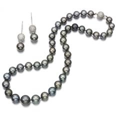 Cultured pearl and diamond demi-parure Comprising: a necklace designed as a graduated line of cultured pearls measuring from approximately 10.0 to 14.8 mm, the spherical clasp pavé-set with diamonds, length approximately 535mm; and a pair of pendent earrings, post fittings, Italian maker's mark.