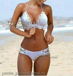 Bikini Crochet Bathing suit swimsuit white swimwear top and - Bademode Mode Du Bikini, Haut Bikini, Bikini Swimwear, Bikini Tops, Bikini Bottoms, Bikini Mayo, Trendy Swimwear, Crochet Bathing Suits, Bathing Suits