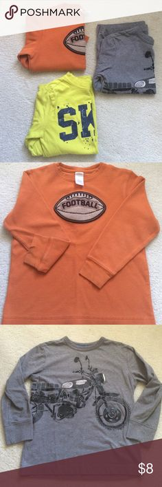 Lot of Boys long sleeve shirts 3 shirts sizes 5-6 from Gymboree and Crazy 8. Well loved but in good enough condition to pass along for more use. The orange shirt has two small tears in the sleeve at the wrist (picture 2). Shirts & Tops Tees - Long Sleeve