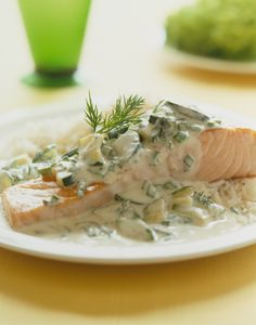 Cold Poached Salmon, Cucumber-Lemon-Dill Sauce, Dill-Dijon Whipped Cream, Lemon Dill Butter Sauce, and Pesto Creme Fraich Cucumber Dill Sauce, Dill Sauce For Salmon, Lemon Dill Sauce, Cucumber Yogurt, Best Fish Recipes, Salmon Recipes, Seafood Recipes, Healthy Recipes, Favorite Recipes