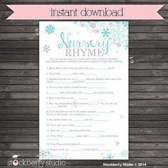 Nursery Rhyme Quiz Game Baby Shower Printable  by stockberrystudio